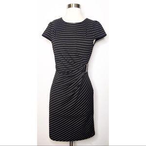 Venus Black White Striped Side Buckle Dress